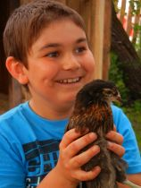 Das Huhn hat einen neuen Freund gefunden.